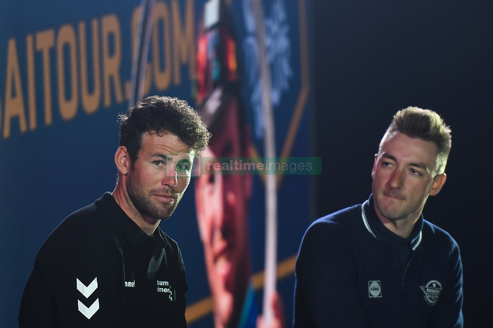 February 23, 2019 - Abu Dhabi, United Arab Emirates - (Left-Right) Mark Cavendish (Team Dimension Data) and Elia Viviani (Team Deceuninck-QuickStep), during a chat with the event host, Jonathan Edwards, at the opening ceremony of the 1st UAE Tour, inside Louvre Abu Dhabi museum..On Saturday, February 23, 2019, Abu Dhabi, United Arab Emirates. (Credit Image: © Artur Widak/NurPhoto via ZUMA Press)