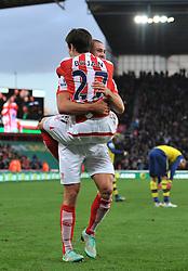 Stoke's Bojan Krkic celebrates his goal with Stoke's Jonathan Walters - Photo mandatory by-line: Dougie Allward/JMP - Mobile: 07966 386802 - 06/12/2014 - SPORT - Football - Stoke - Britannia Stadium - Stoke City v Arsenal - Barclays Premie League
