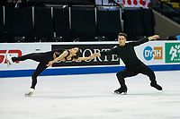 KELOWNA, BC - OCTOBER 24:  Team Canada figure skaters Evelyn Walsh and Trennt Michaud, warm up on the ice during pairs practice of Skate Canada International at Prospera Place on October 24, 2019 in Kelowna, Canada. (Photo by Marissa Baecker/Shoot the Breeze)
