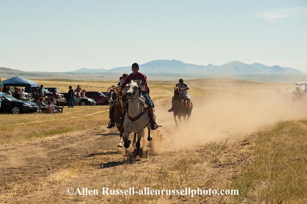 Fort Belknap Indian Reservation, Milk River Memorial Horse Races, Men Two Mile Race, winner, Nolan Werk, Gros Ventre. .