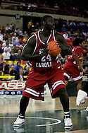 24 November 2005: Ousmane Konate of Pikine, Senegal, a sophomore forward from the University of South Carolina protects the ball in the Gamecock's 65 - 60 victory over the University of Alaska Anchorage Seawolves in the first round of the Great Alaska Shootout at the Sullivan Arena in Anchorage Alaska.