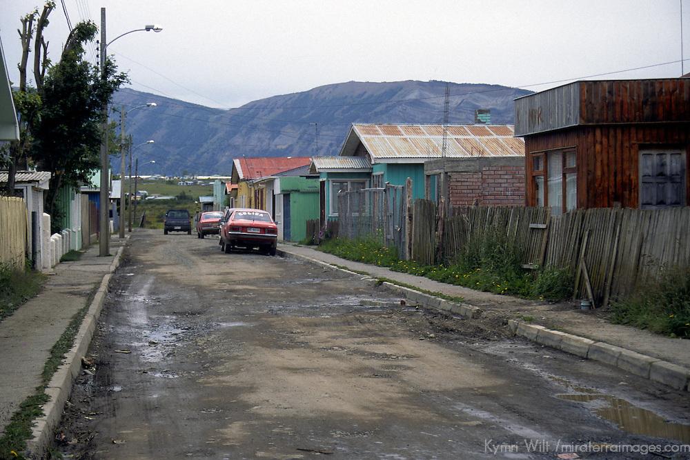 Americas, South America, Chile, Puerto Natales. A quiet street in Puerto Natales.