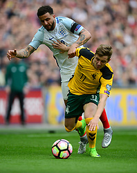 England's Kyle Walker battles for the ball with Lithuania's Arvydas Novikovas - Mandatory by-line: Alex James/JMP - 26/03/2017 - FOOTBALL - Wembley Stadium - London, England - England  v Lithuania - World Cup Qualifiers Group stage