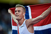 Great Britain, London - 2017 August 13: Filip Ingebrigtsen from Norway celebrates his medal in men&rsquo;s 1500 meters final during IAAF World Championships London 2017 Day 10 at London Stadium on August 13, 2017 in London, Great Britain.<br /> <br /> Mandatory credit:<br /> Photo by &copy; Adam Nurkiewicz<br /> <br /> Adam Nurkiewicz declares that he has no rights to the image of people at the photographs of his authorship.<br /> <br /> Picture also available in RAW (NEF) or TIFF format on special request.<br /> <br /> Any editorial, commercial or promotional use requires written permission from the author of image.
