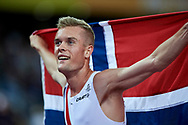 Great Britain, London - 2017 August 13: Filip Ingebrigtsen from Norway celebrates his medal in men's 1500 meters final during IAAF World Championships London 2017 Day 10 at London Stadium on August 13, 2017 in London, Great Britain.<br /> <br /> Mandatory credit:<br /> Photo by © Adam Nurkiewicz<br /> <br /> Adam Nurkiewicz declares that he has no rights to the image of people at the photographs of his authorship.<br /> <br /> Picture also available in RAW (NEF) or TIFF format on special request.<br /> <br /> Any editorial, commercial or promotional use requires written permission from the author of image.
