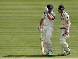 Middlesex's Nick Compton and Middlesex's Sam Robson discuss matters in the middle - Photo mandatory by-line: Robbie Stephenson/JMP - Mobile: 07966 386802 - 04/05/2015 - SPORT - Football - London - Lords  - Middlesex CCC v Durham CCC - County Championship Division One