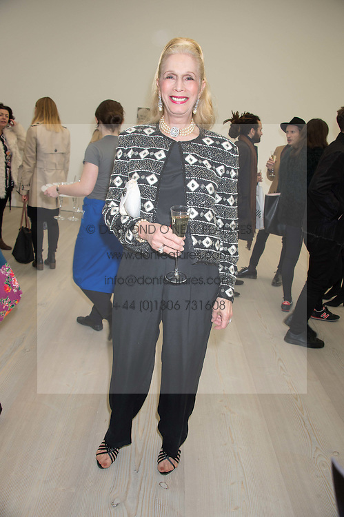 LADY COLIN CAMPBELL at the opening of the exhibition Champagne Life in celebration of 30 years of The Saatchi Gallery, held on 12th January 2016 at The Saatchi Gallery, Duke Of York's HQ, King's Rd, London.
