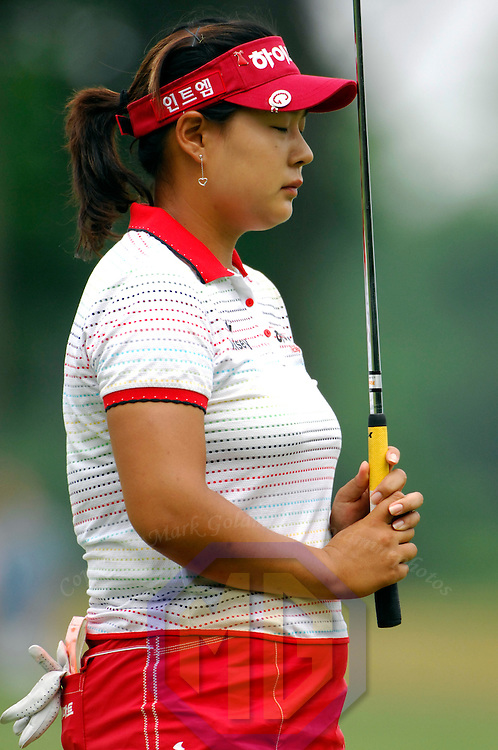10 June 2007:  Jee Young Lee reacts to missing a putt on the 8th hole in the McDonald's LPGA Championship. The tournament was won by Suzann Pettersen of Norway who won by one stroke after shooting a 14 under par at Bulle Rock Golf Course in Havre de Grace, Md.   ****For Editorial Use Only****