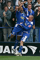 Photo: Steve Bond.<br />Leicester City v Barnsley. Coca Cola Championship. 27/10/2007. Collins John (L) celebrates his goal with Iain Hume (R)
