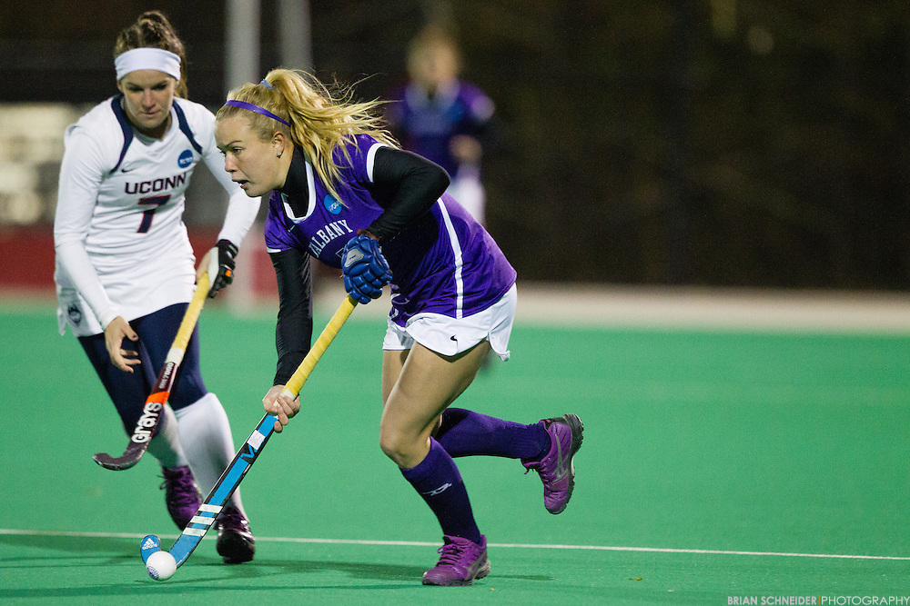 Nov 21, 2014; College Park, MD, USA; The Albany Great Danes lose 1-0 to the Connecticut Huskies in the NCAA Tournament Semifinals at the Field Hockey and Lacrosse Complex on the campus of University of Maryland in College Park, MD. Mandatory Credit: Brian Schneider-www.ebrianschneider.com