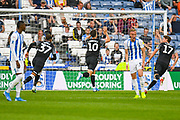 Tom Lawrence of Derby County (10) scores a goal and celebrates to make the score 0-2 during the EFL Sky Bet Championship match between Huddersfield Town and Derby County at the John Smiths Stadium, Huddersfield, England on 5 August 2019.