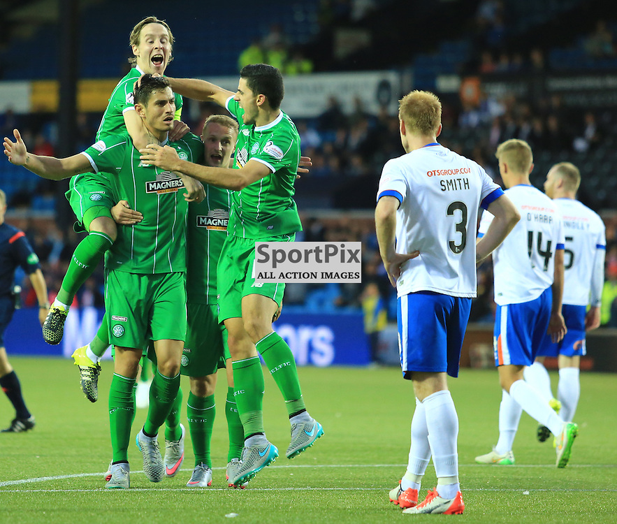 Celtic's Tomas Rogić  celebrates with team mates after firing in an unstoppable shot to put celtic in front during the Kilmarnock FC V Glasgow Celtic FC Scottish Premiership 12th August 2015 ©Edward Linton | SportPix.org.uk