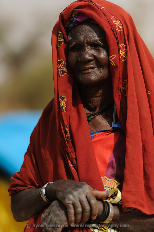 Mariama Saini, who estimates her age at 90, walked fifteen kilometers from her home in Mali before finding transport to the refugee camp in Mangaize in the Tillaberi region of Niger. 1 March 2012.