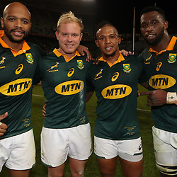 Lionel Mapoe with Ross Cronje Elton Jantjies and Siya Kolisi of South Africa during the 2nd Castle Lager Incoming Series Test match between South Africa and France at Growthpoint Kings Park on June 17, 2017 in Durban, South Africa. (Photo by Steve Haag Sports)