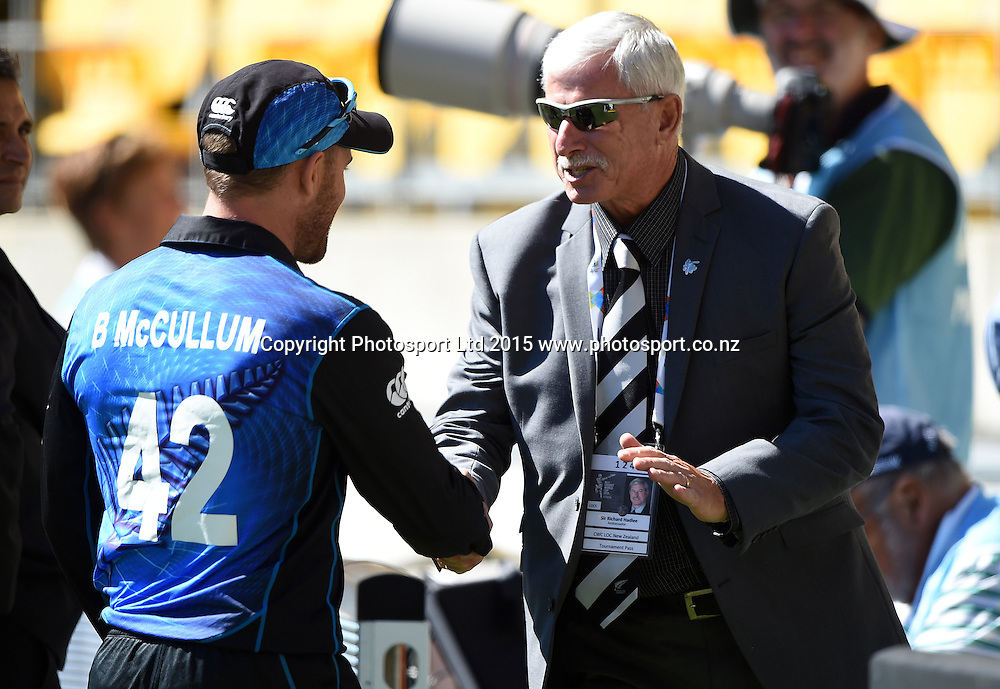 Brendon McCullum and Sir Richard Hadlee during the ICC Cricket World Cup quarter final match between New Zealand Black Caps and the West Indies, Wellington, New Zealand. Saturday 21March 2015. Copyright Photo: Andrew Cornaga / www.Photosport.co.nz