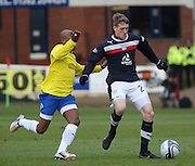 Dundee's Jim McAlister  is chased by Greenock Morton's Fouad Bachirou - Dundee v Greenock Morton, William Hill Scottish Cup 5th Round at Dens Park .. - © David Young - www.davidyoungphoto.co.uk - email: davidyoungphoto@gmail.com