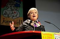08 JAN 2011, BERLIN/GERMANY:<br /> Gesine Loetzsch, Die Linke Parteivorsitzende, haelt eine Rede, 16. Internationale Rosa-Luxenburg-Konferenz, Urania Haus<br /> IMAGE: 20110108-01-019<br /> KEYWORDS: Kommunismus, Gesine Lötzsch