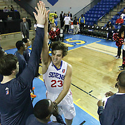 Delaware 87ers Guard Matthew Bouldin (23) slaps five with Delaware 87ers Center Kyrylo Fesenko (34) during player introduction prior to a NBA D-league regular season basketball game between the Delaware 87ers (76ers) and the Austin Toros (Spurs) Monday, Jan. 27, 2014 at The Bob Carpenter Sports Convocation Center, Newark, DE