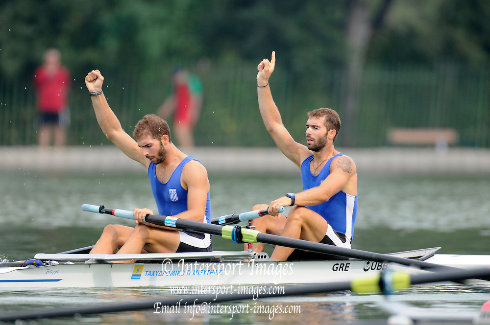 Plovdiv BULGARIA.  GRE W2-. Bow, Nikolaos GKOUNTOULAS and Apostolas GKOUNTOULAS,  Gold medalist  men's pair Final   2011 FISA European Rowing Championships, Plovdiv Rowing Centre   Sunday  18/09/2011  [Mandatory Credit; Peter Spurrier: Intersport Images]  Original Camera File No.  2011011936.jpg Equipment.
