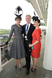 Left to right, MARTHA SITWELL, PHILIP TREACY and KIM MURDOCH at the Investec Derby 2013 held at Epsom Racecourse, Epsom, Surrey on 1st June 2013.
