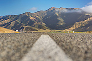 SH7 shot from road level near Hanmer Srings, Canterbury New Zealand