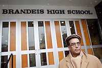 3 February, 2009. New York, NY. Dwijen Bhattacharjya, 55, is in front of the Louis D. Brendeis High School where he teaches. Brandeis High School will be closed by the City in order to have smaller high schools.<br /> <br /> ©2009 Gianni Cipriano for The New York Times<br /> cell. +1 646 465 2168 (USA)<br /> cell. +1 328 567 7923 (Italy)<br /> gianni@giannicipriano.com<br /> www.giannicipriano.com