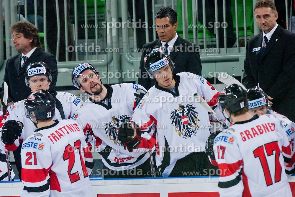 Players of Austria celebrate during ice-hockey match bewteen Ukraine and Austria at IIHF World Championship DIV. I Group A Slovenia 2012, on April 15, 2012 at SRC Stozice, Ljubljana, Slovenia. (Photo By Matic Klansek Velej / Sportida.com)