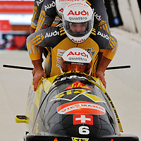 16 December 2007:  Swiss 1 four-man bobsled driven by Ivo Rueegg, with Roman Handschin, Thomas Herzog and brakeman Cedric Grand compete at the FIBT World Cup 4-Man bobsled competition on December 16, 2007 at the Olympic Sports Complex in Lake Placid, NY.  The Russia 2 sled driven by Alexandr Zubkov won the race with a time of 1:48.79.