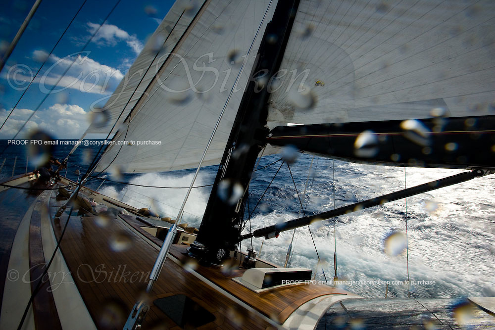 Racing onboard Tenacious at the Superyacht Cup Regatta.
