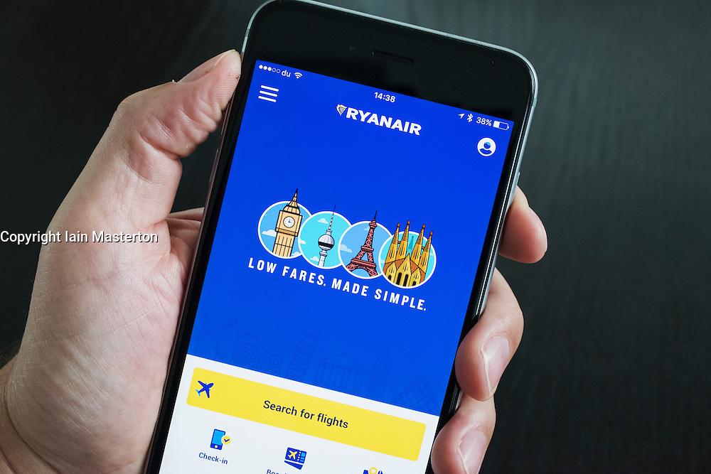 Ryanair low cost airline flight booking app on iPhone 6 Plus smart phone