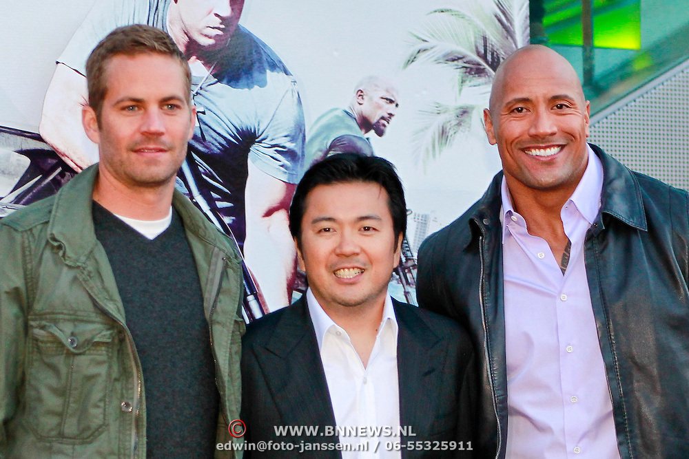NLD/Amsterdam/20110426 - Premiere Fast & Furious 5, Paul Walker, Justin Lin en Dwayne Johnson