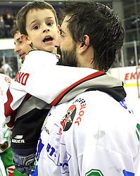 Raffaele Intranuovo of Olimpija and his son after the ice hockey match ZM Olimpija vs Liwest Linz in sixth round of semi-final of Ebel League (Erste Bank Eishockey Liga),  on March  9, 2008 in Arena Tivoli, Ljubljana, Slovenia. Win of ZM Olimpija 2:0, ZM Olimpija qualified in finals. (Photo by Vid Ponikvar / Sportal Images)