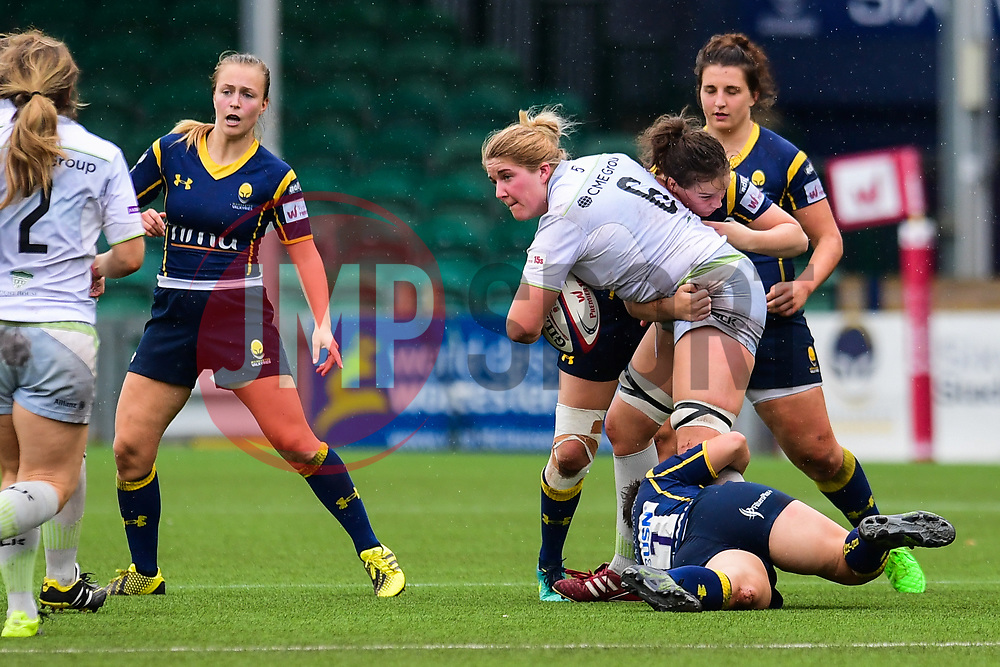 Poppy Cleall of Saracens Ladies is tackled by Charlie Wilcock of Worcester Valkyries - Mandatory by-line: Craig Thomas/JMP - 30/09/2017 - RUGBY - Sixways Stadium - Worcester, England - Worcester Valkyries v Saracens Women - Tyrrells Premier 15s