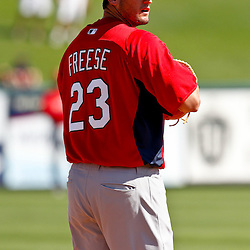 March 17, 2012; Lakeland, FL, USA; St. Louis Cardinals third baseman David Freese (23) warms up before a spring training game against the Detroit Tigers at Joker Marchant Stadium. Mandatory Credit: Derick E. Hingle-US PRESSWIRE