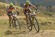 Sally Bigham (right) and Ester Suss (left) under pressure to catch Team RECM 2 during stage 4 of the 2014 Absa Cape Epic Mountain Bike stage race from The Oaks Estate in Greyton, South Africa on the 27 March 2014<br /> <br /> Photo by Greg Beadle/Cape Epic/SPORTZPICSduring stage 4 of the 2014 Absa Cape Epic Mountain Bike stage race from The Oaks Estate in Greyton, South Africa on the 27 March 2014<br /> <br /> Photo by Greg Beadle/Cape Epic/SPORTZPICS