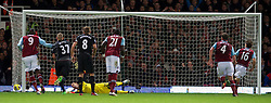 09.12.2012, Upton Park, London, ENG, Premier League, West Ham United vs FC Liverpool, 16. Runde, im Bild Liverpool's goalkeeper Jose Reina is beaten from the penalty spot by West Ham United's Mark Noble for the first equalising goal during the English Premier League 16th round match between West Ham United FC and Liverpool FC at the Upton Park, London, Great Britain on 2012/12/09. EXPA Pictures © 2012, PhotoCredit: EXPA/ Propagandaphoto/ David Rawcliffe..***** ATTENTION - OUT OF ENG, GBR, UK *****
