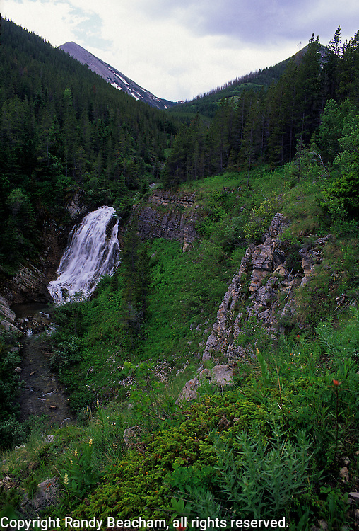Waterfall on the South Fork of Birch Creek. Bob Marshall Wilderness Area in the Lewis and Clark National Forest, Montana