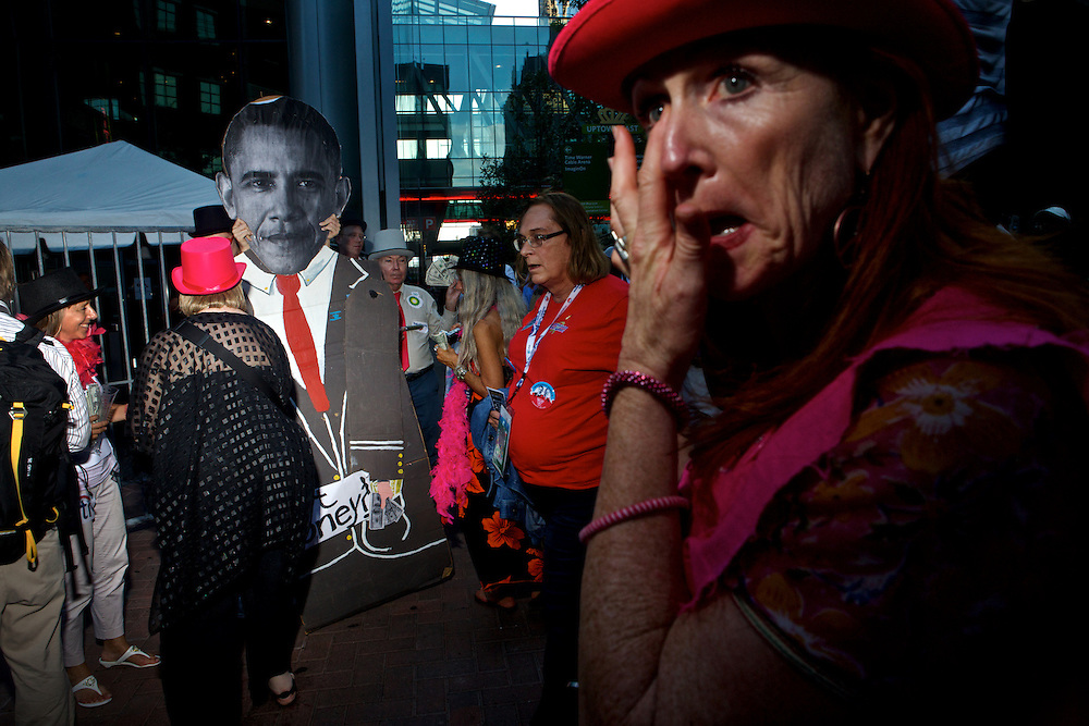 "Demonstrators perform a satirical protest called ""Billionaires for Obama"" during the 2012 Democratic National Convention on Wednesday, September 5, 2012 in Charlotte, NC."