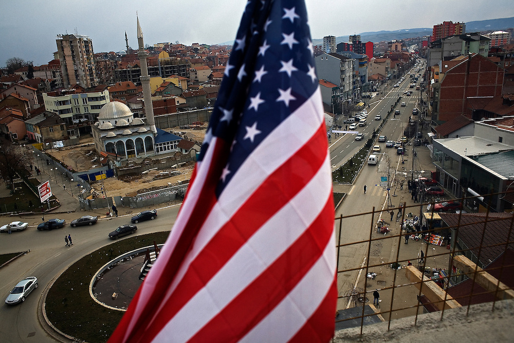 View of central Mitrovica from a new apartment building. Construction of this and many other buildings is funded by investments made by the Albanian diaspora...Mitrovica, February 15, 2009.