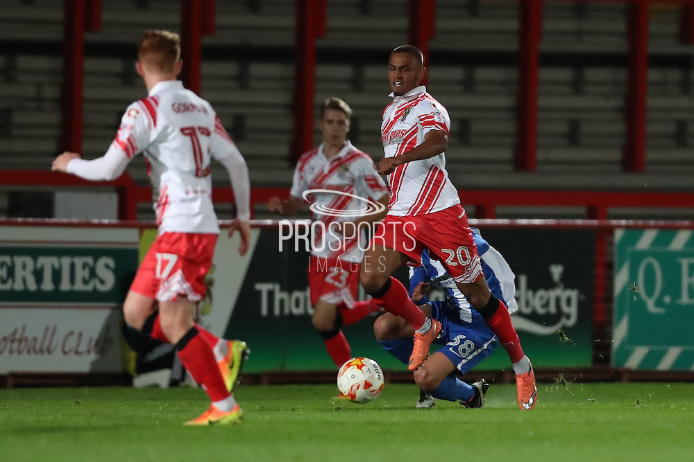 Stevenage midfielder Connor Hunte (20) during the EFL Trophy match between Stevenage and Brighton and Hove Albion at the Lamex Stadium, Stevenage, England on 4 October 2016.