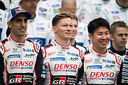 June 12-17, 2018: 24 hours of Le Mans. Sebastien Buemi,  Toyota Racing, Toyota TS050 Hybrid, Mike Conway, Toyota Racing, Toyota TS050 Hybrid, Kamui Kobayashi,  Toyota Racing, Toyota TS050 Hybrid