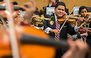 Richard Carranza performs with members of the Heights and Northside Mariachi bands after being hired to be superintendent of the Houston ISD, August 18, 2016.