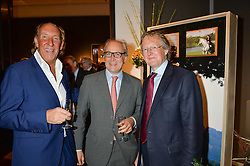 Left to right, VISCOUNT DAVENTRY, ORLANDO ROCK and JOHNNY EDDIS at a party to celebrate the publication of Capability Brown & Belvoir - Discovering a lost Landscape by The Duchess of Rutland, held at Christie's, 8 King Street, St.James, London on 7th October 2015.