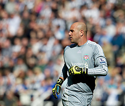 NEWCASTLE-UPON-TYNE, ENGLAND - Sunday, April 1, 2012: Liverpool's goalkeeper Jose Reina in action against Newcastle United during the Premiership match at St James' Park. (Pic by Vegard Grott/Propaganda)