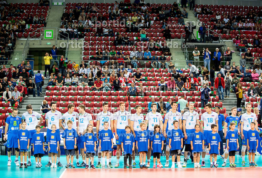 Players of Slovenia listening to the national anthem during volleyball match between National teams of Slovenia and Italy in 1st Semifinal of 2015 CEV Volleyball European Championship - Men, on October 17, 2015 in Arena Armeec, Sofia, Bulgaria. Photo by Vid Ponikvar / Sportida