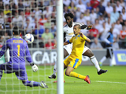 "Swansea City's Wilfried Bony sees is shot well saved  - Photo mandatory by-line: Joe Meredith/JMP - Tel: Mobile: 07966 386802 22/08/2013 - SPORT - FOOTBALL - Liberty Stadium - Swansea -  Swansea City V Petrolul Ploiesti - Europa League Play-Off EDITORIAL USE ONLY. No use with unauthorised audio, video, data, fixture lists, club/league logos or ""live"" services. Online in-match use limited to 45 images, no video emulation. No use in betting, games or single club/league/player publications"
