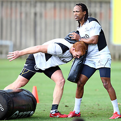 DURBAN, SOUTH AFRICA, 17 November 2015 - Phillip van der Walt with Odwa Ndungane during The Pre-season training squad and coaching team announcement at Growthpoint Kings Park in Durban, South Africa. (Photo by Steve Haag)<br /> images for social media must have consent from Steve Haag