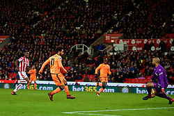 STOKE-ON-TRENT, ENGLAND - Wednesday, November 29, 2017: Liverpool's Mohamed Salah scores the third goal during the FA Premier League match between Stoke City and Liverpool at the  Bet365 Stadium. (Pic by David Rawcliffe/Propaganda)