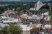 Looking out on the site from the Glenelannd Tower - The 2017 Glastonbury Festival, Worthy Farm. Glastonbury, 24 June 2017