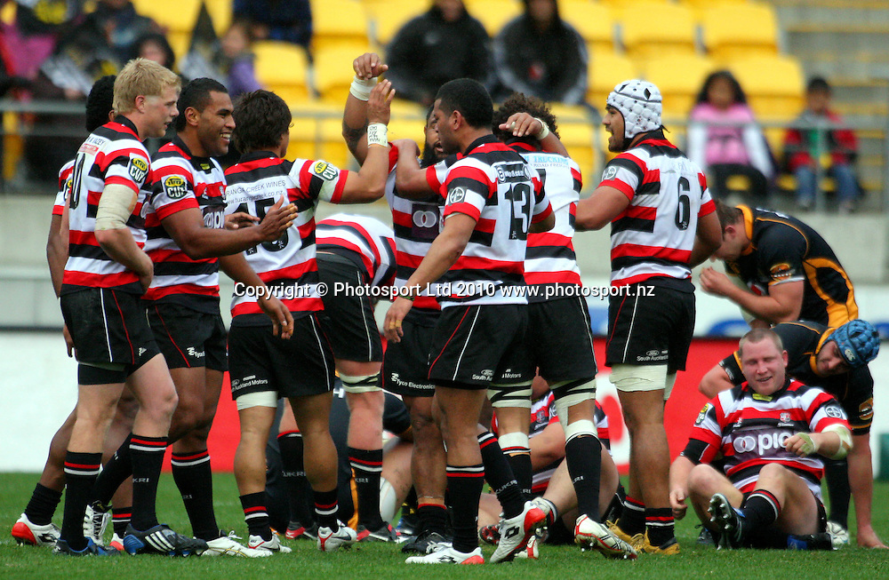Counties players celebrate victory. ITM Cup - Wellington Lions v Counties-Manukau Steelers at Westpac Stadium, Wellington, New Zealand on Sunday, 8 August 2010. Photo: Dave Lintott/PHOTOSPORT